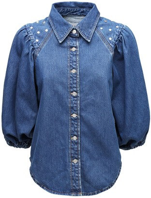 Ganni Studded Organic Cotton Denim Shirt