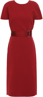 Victoria Beckham Belted Cutout Bonded Crepe Dress