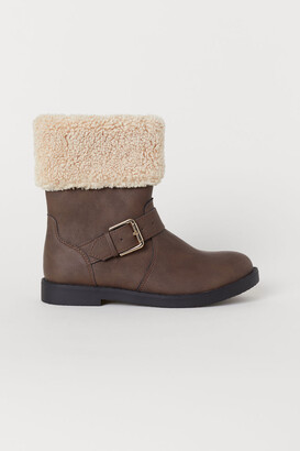 H&M Faux Shearling-lined Boots - Beige