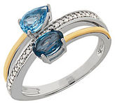 Lord & Taylor Blue Topaz, Diamond, Sterling Silver and 14K Yellow Gold Swirl Ring