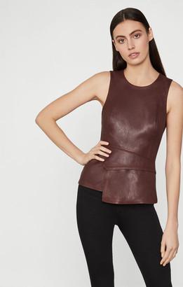 BCBGMAXAZRIA Tori Faux Leather Peplum Top