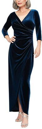 Alex Evenings Petite Long Stretch Velvet Dress with 3/4 Sleeves (Imperial) Women's Clothing