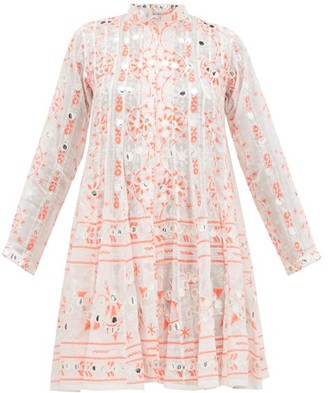 Juliet Dunn Nomad Panelled Mirror Work Cotton Dress - Womens - Red White