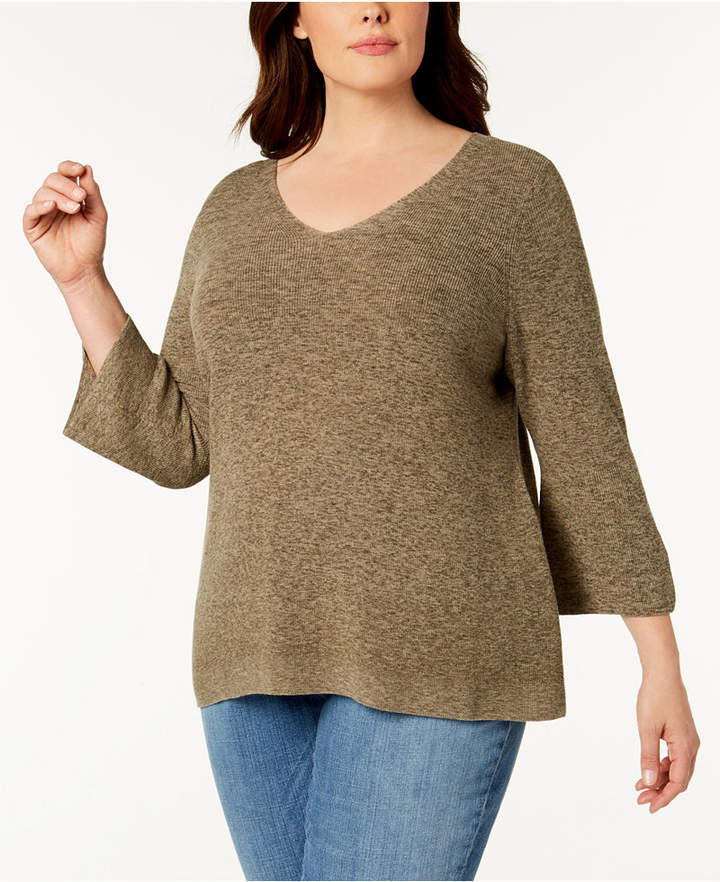Eileen Fisher Plus Size Organic Cotton Marled Bell-Sleeve Sweater