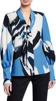 Natori Petal Paint Stroke Printed Tie-Neck Long-Sleeve Top