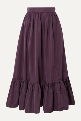 Valentino Tiered Cotton-blend Poplin Midi Skirt - Purple