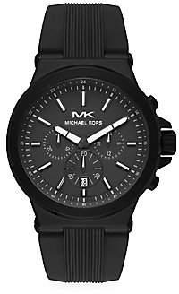 Michael Kors Women's Dylan Matte Black Stainless Steel & Black Silicone Strap Chronograph Watch