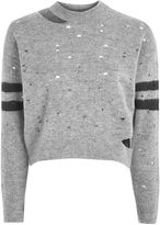 Topshop Nibbled Stripe Sleeve Knitted Jumper