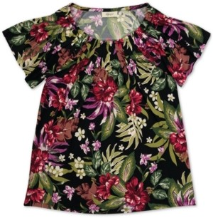 Style&Co. Style & Co Plus Size Printed Pleat-Neck Top, Created for Macy's