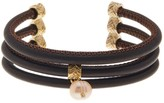 Cole Haan 8mm Freshwater Pearl 3 Row Faux Leather Cuff Bracelet