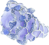 Wendy Yue Purple Jade Carved Flower Ring