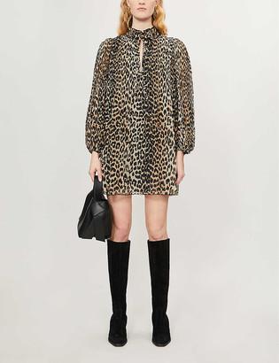 Ganni Georgette leopard-print woven mini dress