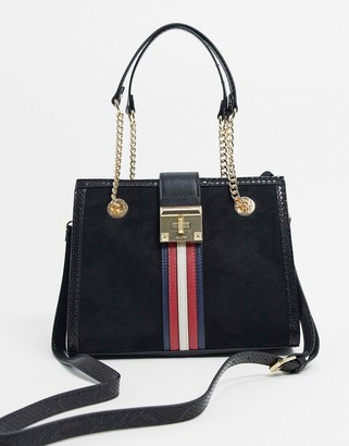Aldo tote bag with stripe detail in black