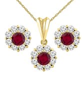 Sabrina Silver 14K Yellow Gold Enhanced Genuine Ruby Earrings and Pendant Set with Diamond Halo Round 6 mm