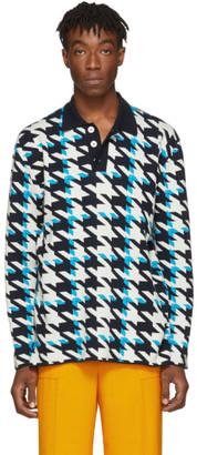 Sunnei Blue Fuxia Felted Woven Oversized Polo