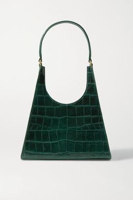 STAUD Rey Croc-effect Leather Tote - Emerald