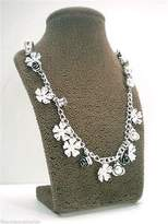 Jessica Simpson Garden Party Necklace Silvertone Flower Charms
