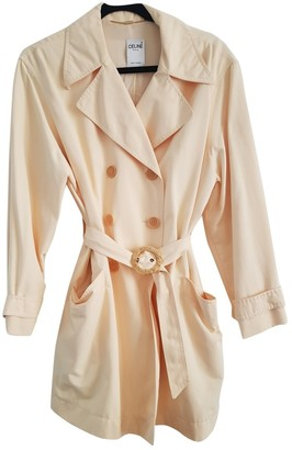 Celine Yellow Cotton Trench Coat for Women Vintage