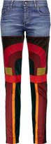 Tom Ford Patchwork velvet and satin-paneled mid-rise slim-leg jeans