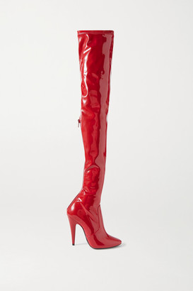 Saint Laurent Patent-leather Over-the-knee Boots - Red