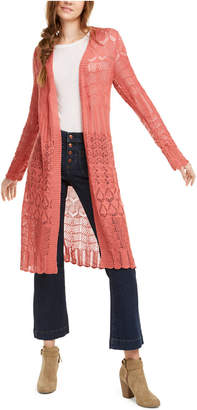 Hooked Up by Iot Juniors' Pointelle-Knit Duster Cardigan