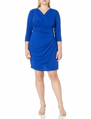 Adrianna Papell Women's Plus Size V Neck 3/4sleeve Wrap Dress