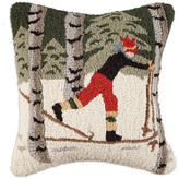 """Chandler 4 Corners Back Country Skier in Woods 18"""" Pillow"""