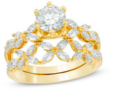 Zales 2 CT. T.W. Diamond Flower Bridal Set in 14K Gold (H/SI2)
