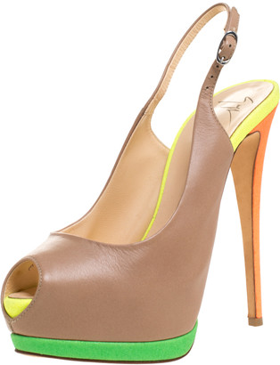 Giuseppe Zanotti Muticolor Suede And Leather Peep Toe Platform Slingback Sandals Size 39.5