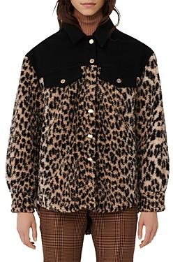 Maje Bamion Cat Print Fleece Jacket