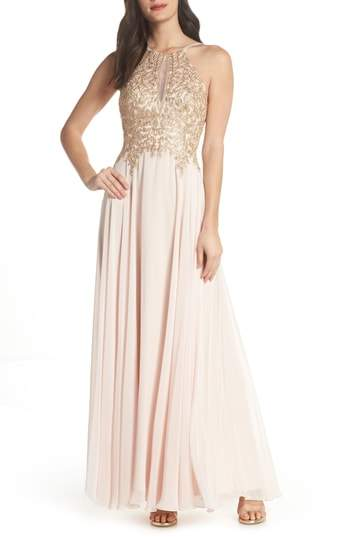 Xscape Evenings Embroidered Chiffon Halter Dress