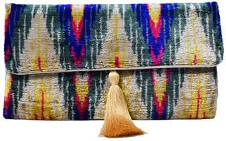Punica Multi Coloured Rainbow Velvet Ikat Clutch