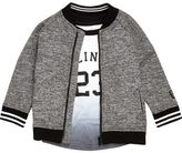 River Island Mini boys grey print bomber and T-shirt set