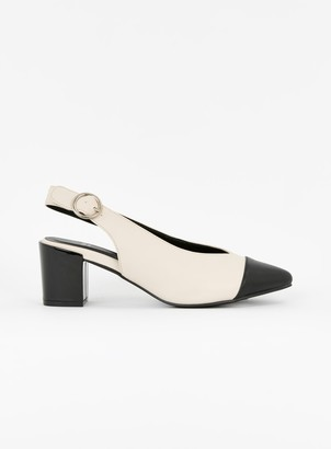 Evans EXTRA WIDE FIT White Monochrome Slingback Heels