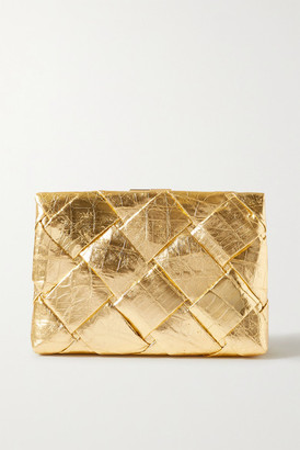 Nancy Gonzalez Woven Metallic Crocodile Clutch - Gold
