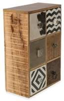 6 Drawer Cow Hide & Wood Storage Unit