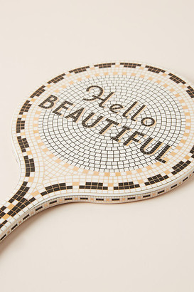 Anthropologie Bistro Tile Hello Beautiful Mirror By in Black Size ALL