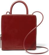 Building Block Box Leather Shoulder Bag - Claret