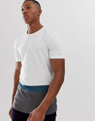 Jack and Jones color block stripe t-shirt in white