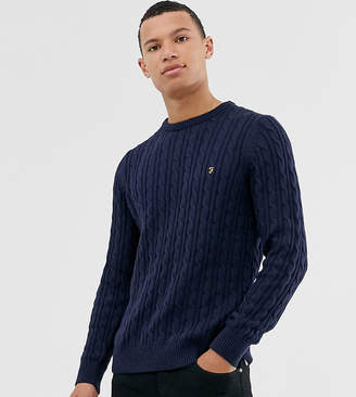 Farah Ludwig cotton cable crew neck sweater in navy