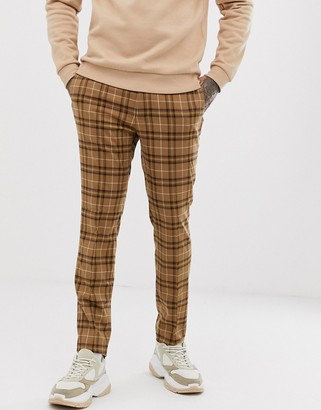 Topman skinny smart pants in brown check