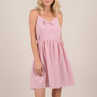Molly Bracken Striped Cotton Short Dress with Bow