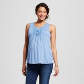 MaCherie Maternity Crochet Detail Tank Top Blue