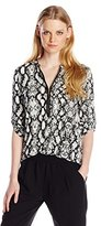 Calvin Klein Women's Printed Zip-Front Roll-Sleeve Blouse
