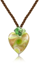 Murano House of Vortice - Lime Glass Swirling Heart Necklace