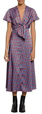 Sandro Catny Cat Print Midi Dress