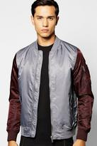 Boohoo Padded Nylon Bomber With Contrast Sleeves