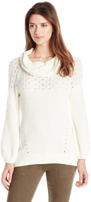 Heather B Women's Stitch Cowl Hi Low Pullover