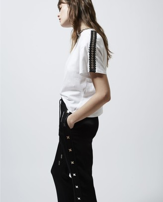 The Kooples Loose-fitting white T-shirt with eyelets