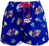 Leisureland Women's Cotton Flannel Pajama Sleepwear Lounge Boxer Shorts Tattoo Love Heart Print